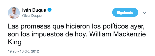 Tweet de Iván Duque citando a William Mackenzie King.