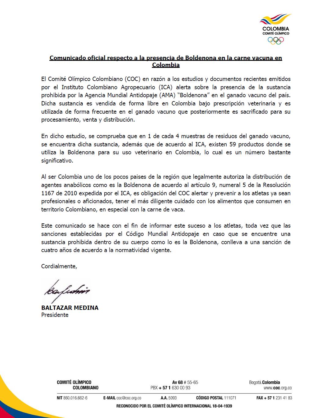 Esta es la carta de Baltasar Medina, presidente del COC, sobre el consumo de carne de res.