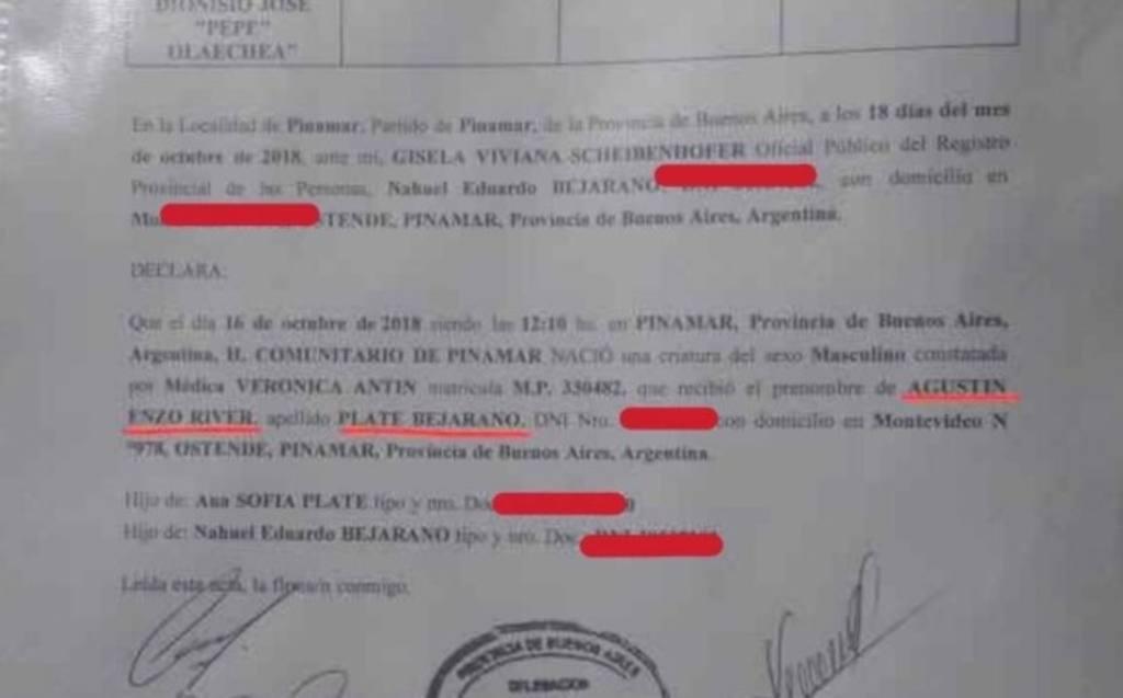 Registro del niño Agustín Enzo River Plate Bejarano.