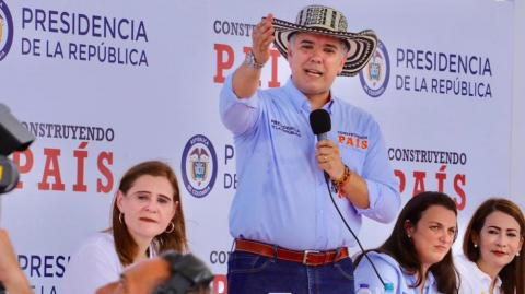 El Presidente Iván Duque interviniendo en Chinú.