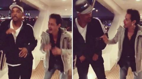 Momentos en que Will Smith baila salsa junto a Marc Anthony.