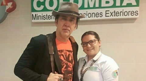 El actor Nicolas Cage en Colombia.