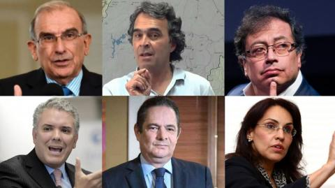 Seis candidatos presidenciales.