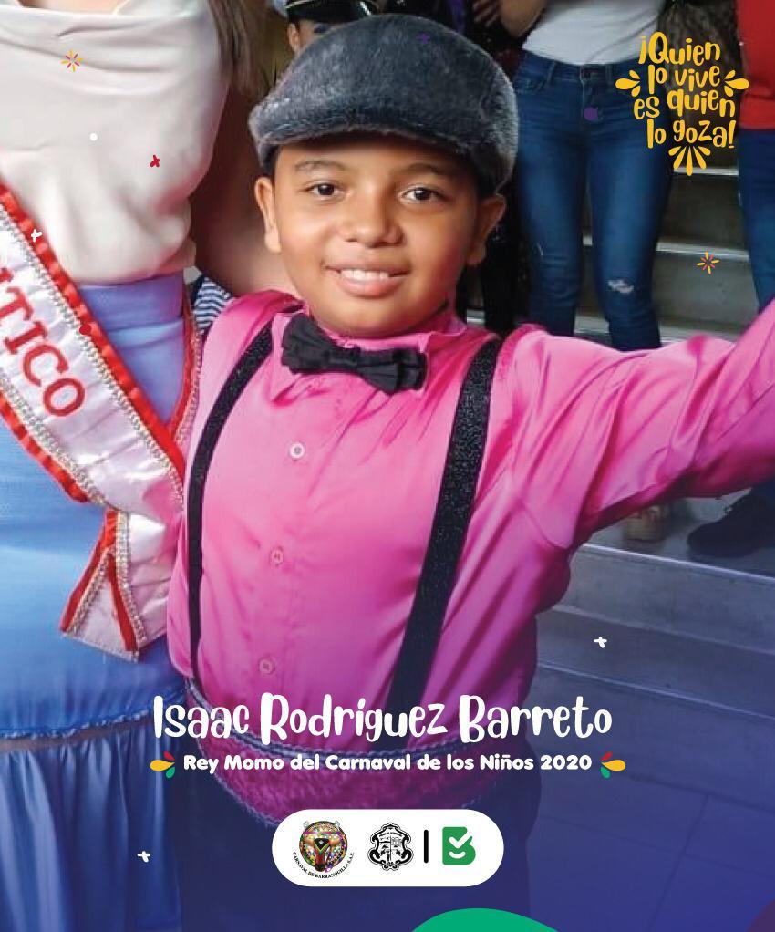 Isaac Rodríguez, Rey Momo del Carnaval de los Niños 2020.