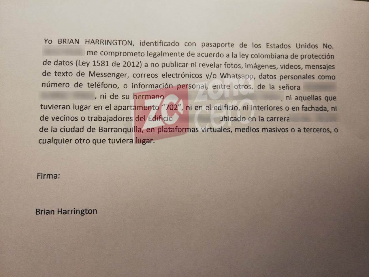 La carta de Brian Harrington.