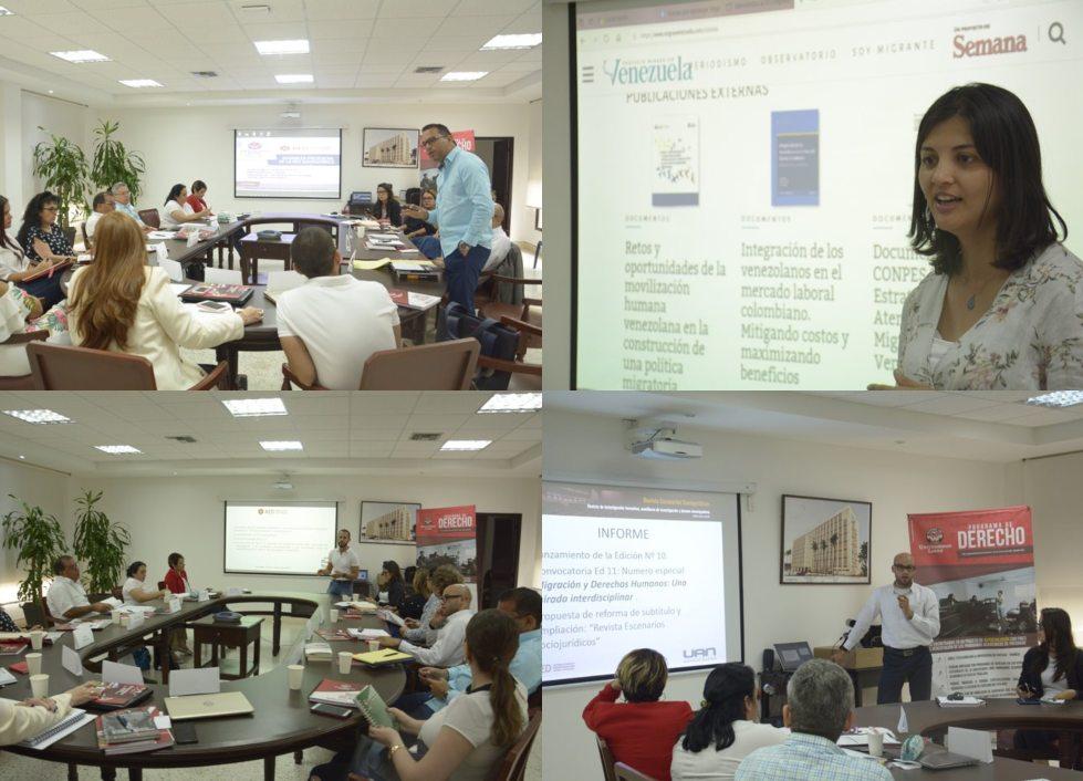 Las diferentes intervenciones que tuvieron lugar en el evento trataron las temáticas de la formación de acciones, estrategias, líneas de trabajo y directrices en pro de avanzar en la internacionalización de la investigación en temas jurídicos y sociojurídicos.