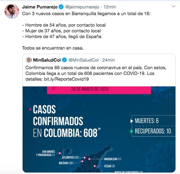 El trino del Alcalde Jaime Pumarejo.