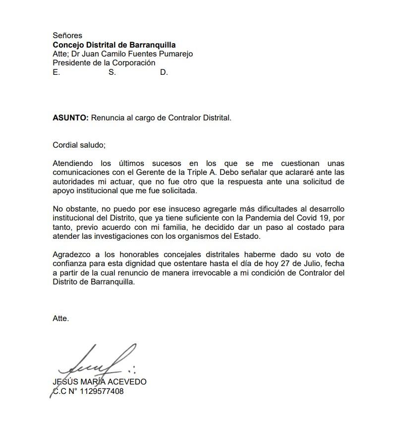 Carta de renuncia del Contralor Distrital Jesús María Acevedo