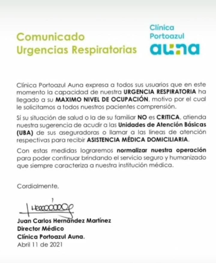 """""""Nuestra urgencia respiratoria ha llegado a su máximo nivel de ocupación"""": Clínica Portoazul - Noticias de Colombia"""