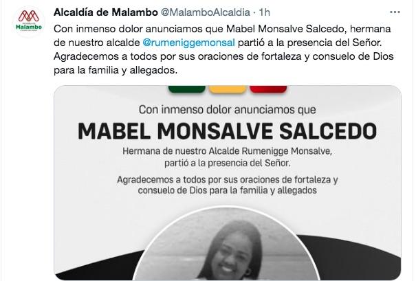 Mensaje luctuoso de la Alcaldía de Malambo.