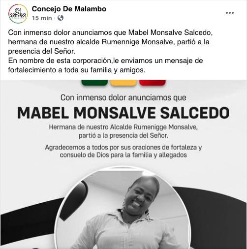 Mensaje luctuoso del Concejo de Malambo.