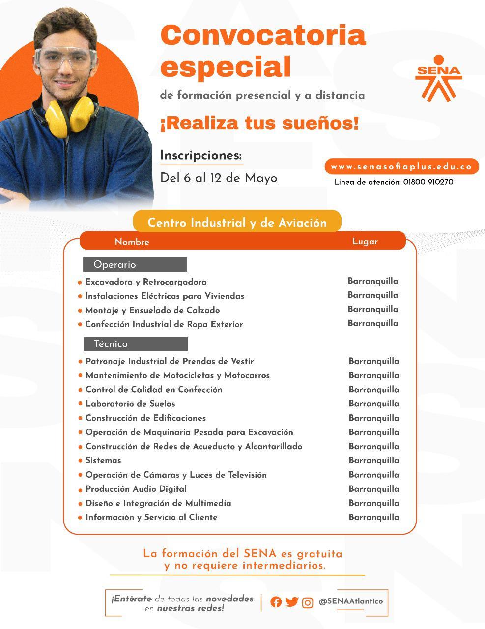 Los interesados en formarse con el SENA a través de esta oferta especial podrán inscribirse del 6 al 12 de mayo a través de www.senasofiaplus.edu.co