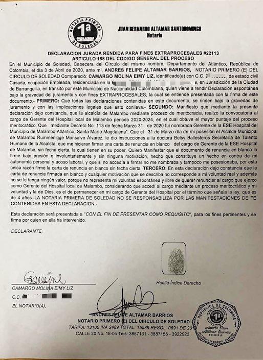 La declaración de Eimy Camargo ante el Notario de Soledad.
