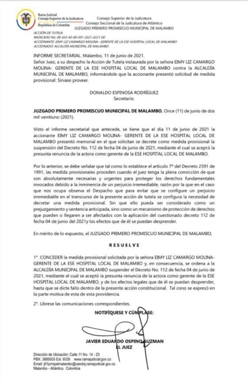 Decisión del juzgado frente a la acción de tutela instaurada por la gerente del Hospital Local de Malambo.