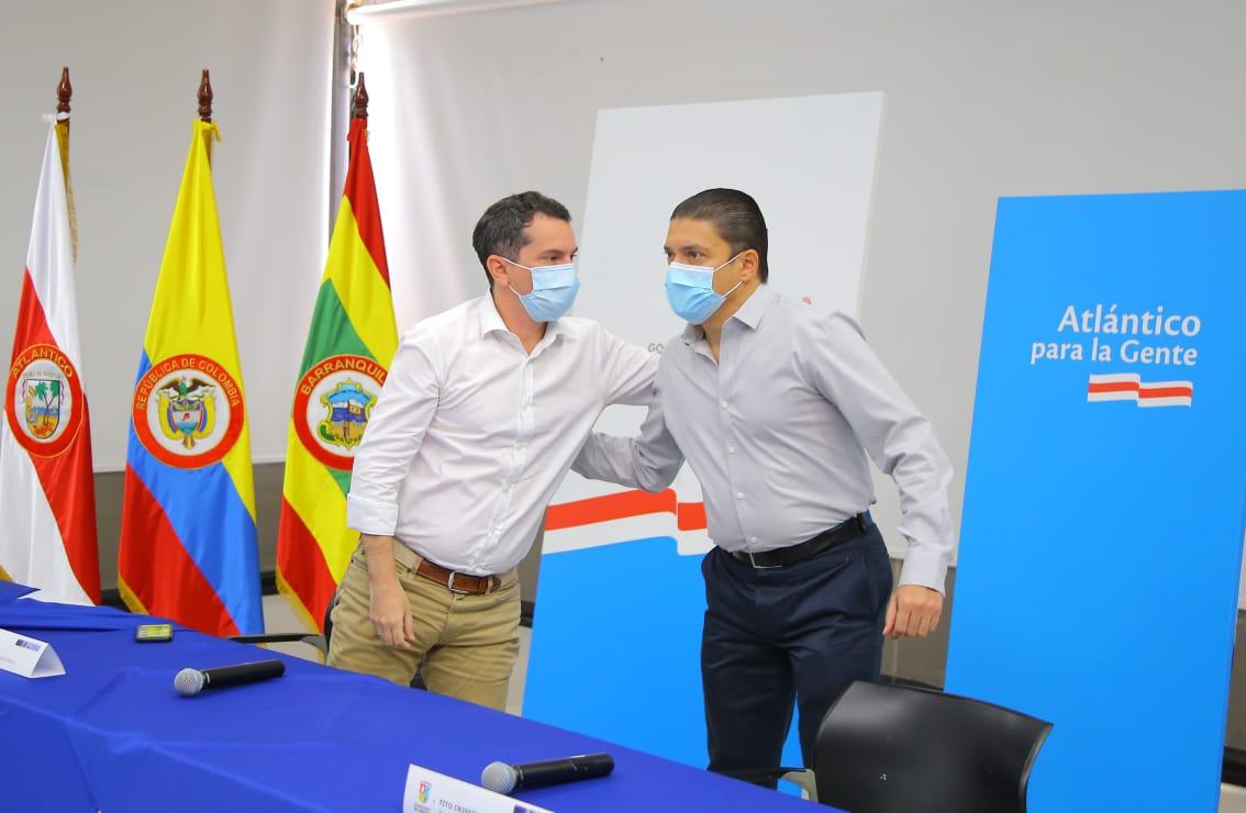 Miguel Vergara, gobernador encargado del Atlántico, y el ministro de Ciencias, Tito Crissien.