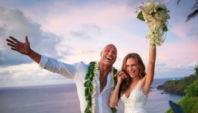 "El actor Dwayne ""The Rock"" Johnson y su esposa Lauren Hashian."