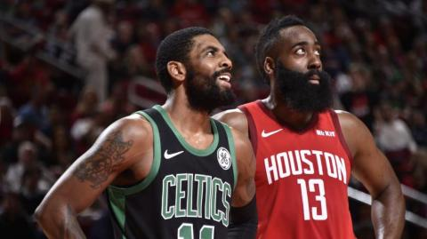 Kyrie Irving y James Harden.