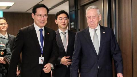 El ministro de Defensa de Corea del Sur, Song Young-moo junto al secretario de Defensa de EEUU, James Mattis.