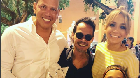 Alex Rodríguez, Marc Anthony y Jennifer Lopez.