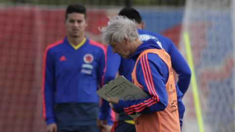 José Pékerman y James Rodríguez.