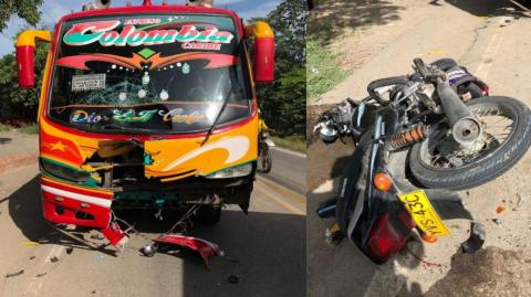 El bus y la moto involucrados en el accidente.