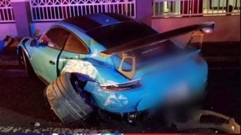 Carro de Ozuna involucrado en accidente.