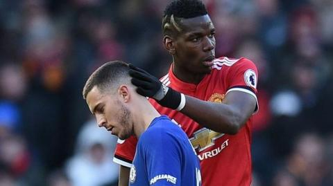 Eden Hazard y Paul Pogba.