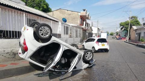 Autos implicados en el choque.