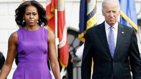 Michelle Obama y Joe Biden.